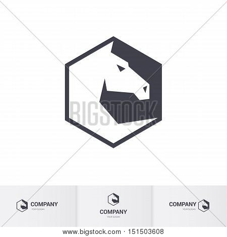 Stylized White Horse Head for Logo Template