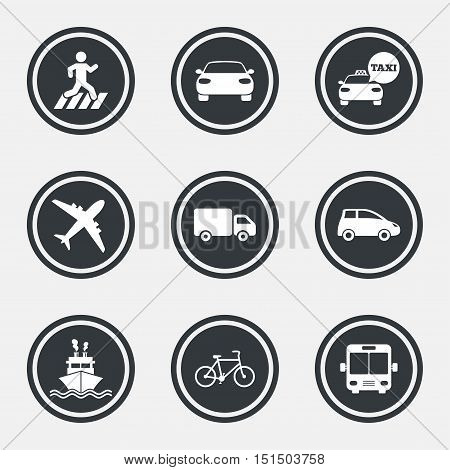 Transport icons. Car, bike, bus and taxi signs. Shipping delivery, pedestrian crossing symbols. Circle flat buttons with icons and border. Vector