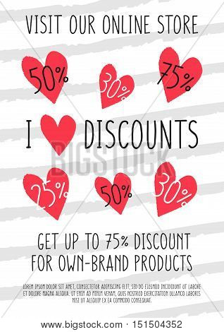 Vector I Love Discounts banner with hand drawn heart shapes with discounts for online stores websites retail posters social media ads. Creative banner layout for m-commerce mobile applications.