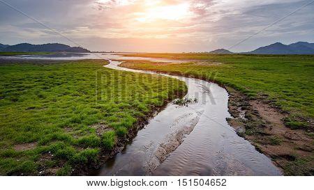 Bang-Pra reservoir at daylight Chonburi province Thailand