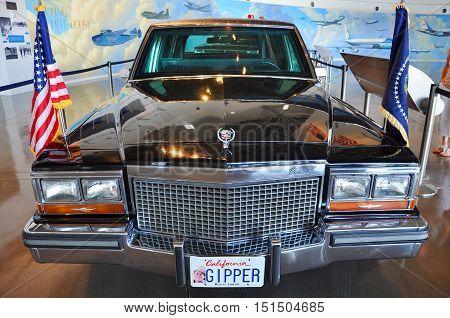 SIMI VALLEY, CA, USA - AUG 26, 2011: Ronald Reagan's Limousine in Ronald Reagan Presidential Memorials, Simi Valley, California, USA.