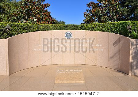 SIMI VALLEY, CA, USA - AUG 26, 2011: President Ronald Wilson Reagan's gravesite located in Simi Valley, California, USA.