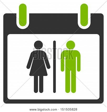 Water Closet Calendar Day vector icon. Style is flat graphic bicolor symbol, eco green and gray colors, white background.