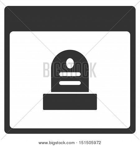 Memorial Tombstone Calendar Page vector icon. Style is flat graphic symbol, gray color, white background.