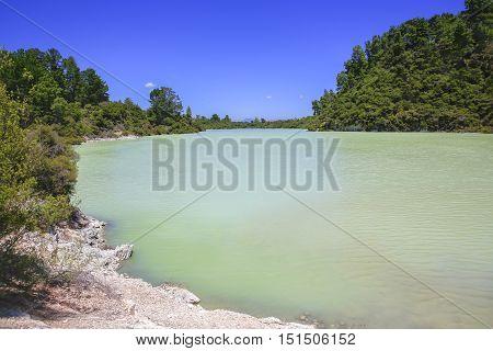 New Zealand, Rotorua, Wai-o-tapu Thermal Wonderland, Lake Ngakoro