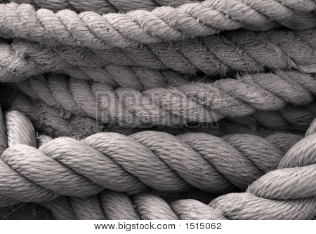 Closeup Of Old Ropes