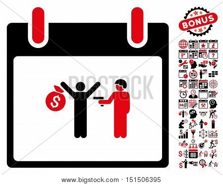 Arrest Calendar Day icon with bonus calendar and time management pictures. Vector illustration style is flat iconic symbols, intensive red and black, white background.