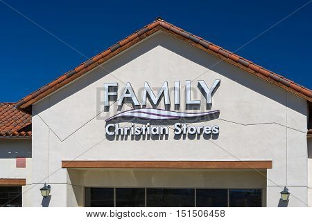 VALENCIA CA/USA - SEPTEMBER 24 2016: Family Christian Store exterior and logo. Family Christian is the world's largest Christian-focused retailer and is located in the United States.