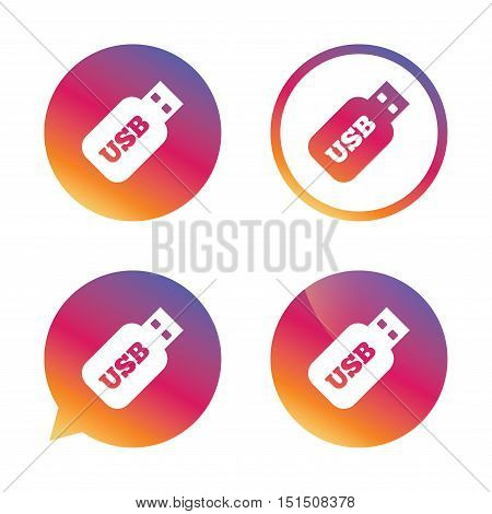 Usb Stick sign icon. Usb flash drive button. Gradient buttons with flat icon. Speech bubble sign. Vector