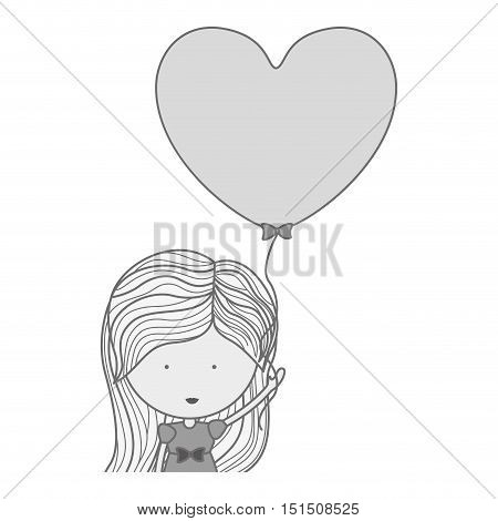 silhouette half body woman with heart shaped balloons vector illustration