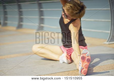 Young Woman Workout In City Park In Morning