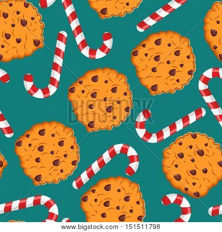 Peppermint Christmas Candy And Cookies Pattern. Sweet Festive Background. Mint Stick And Cookie Orna