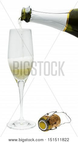 A photo of sparkling wine, poured into a flute glass from a bottle, with a cork, isolated on white