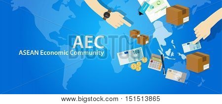 AEC ASEAN Economic Community Association of Southeast Asian Nations vector poster