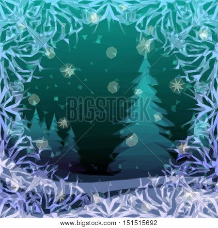 Christmas Low Poly Background for Holiday Design, Winter Snowy Forest with Fir Tree, Abstract Pattern Frame. Vector