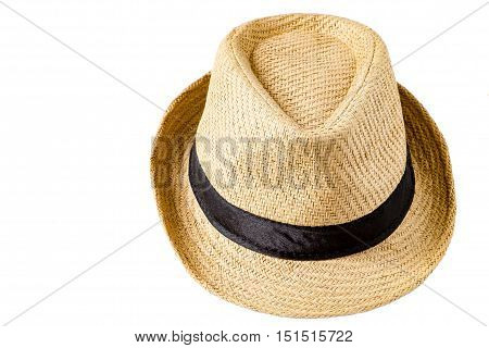 Straw hat isolated on white background. selective focus.