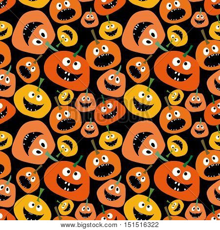 Pumpkin seamless pattern on black background Background for Halloween party yellow and orange pumpkin Pumpkin seamless background
