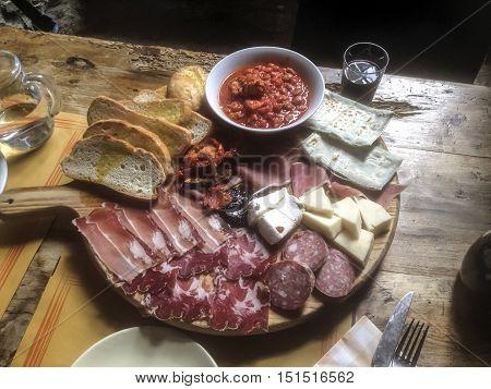 italian breakfast in typical restaurant on the road