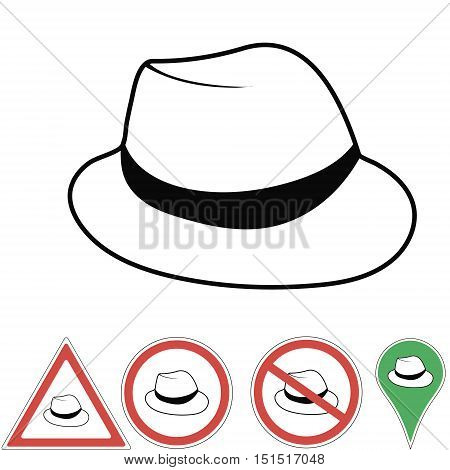 Vector illustration club hat Vintage man's fedora hat label isolated on white background. Design template for label banner badge logo. Vector.