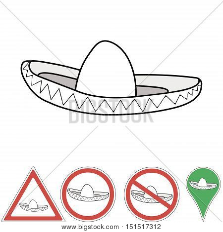 sombrero , Mexican accessory pointer signs, hat sombrero vector for print or design