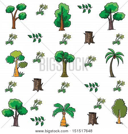 Doodle of tree collection stock vector illustration