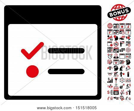 Todo Items Calendar Page pictograph with bonus calendar and time management icon set. Vector illustration style is flat iconic symbols, intensive red and black, white background.