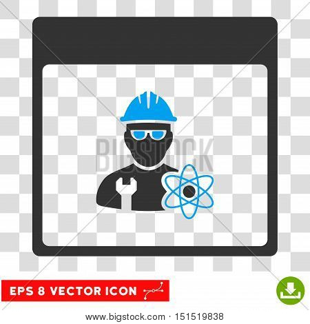 Vector Atomic Engineer Calendar Page EPS vector pictogram. Illustration style is flat iconic bicolor blue and gray symbol on a transparent background.