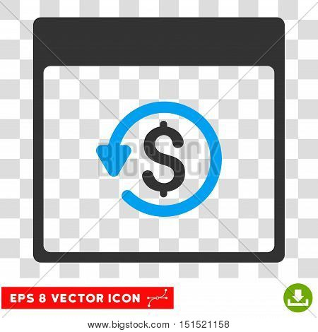 Vector Chargeback Calendar Page EPS vector icon. Illustration style is flat iconic bicolor blue and gray symbol on a transparent background.