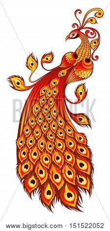 Fire bird, Russian fairy tales fantastic character, In Slavic folklore zhar-ptitsa  is a magical glowing bird from a faraway land