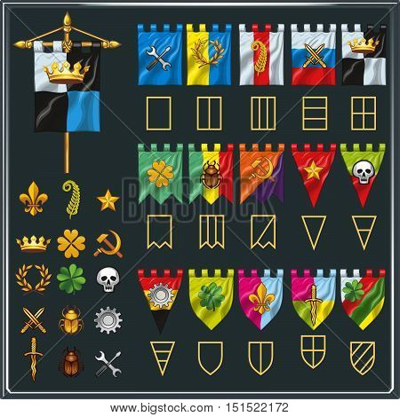 Vector set of different flag shapes. Symbol elements collection. Heraldry elements. For game clans.