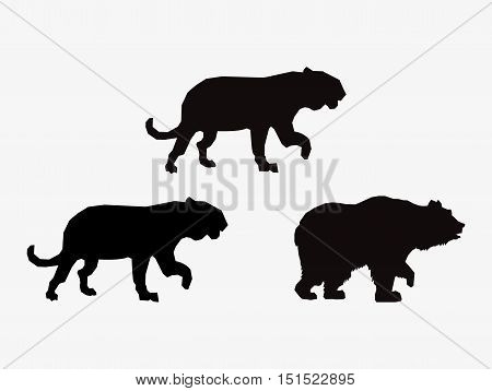 big cats and bear sihouette icons image vector illustration design