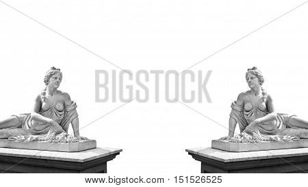 Marble statue of greek goddess Aphrodite isolated on white background with place for your text