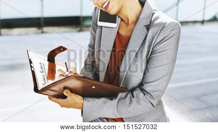 Businesswoman Multitasking Busy Mobile Phone Concept