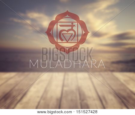 Muladhara chakra symbol. Poster for yoga class with a sea view.