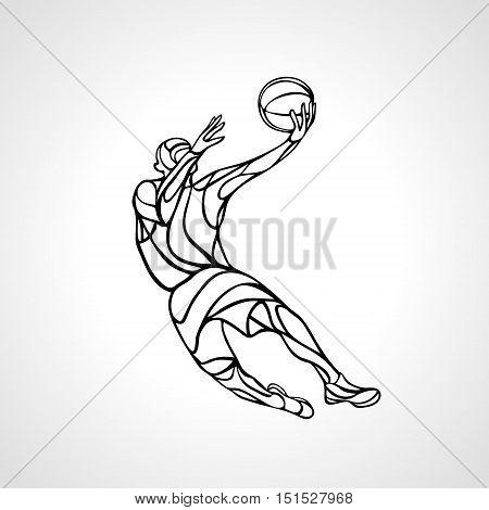 Basketball player. Slam Dunk Silhouette. Vector illustration
