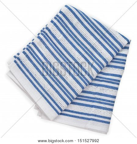Kitchen towel isolated on white background close up