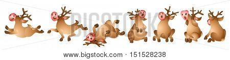 Set of Christmas Reindeer. Cartoon Character of deer. Vector illustration