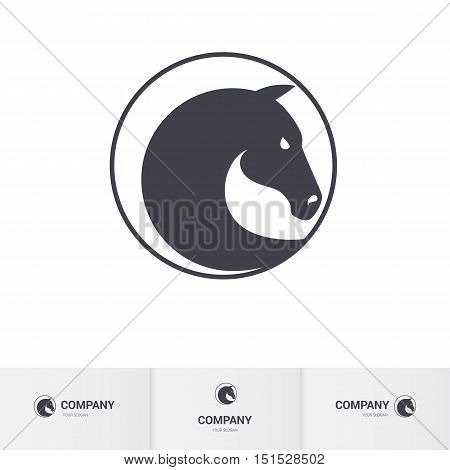 Stylized Dark Horse Head in Circle for Mascot Logo Template
