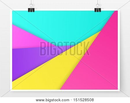Material design poster. Modern paper template. Geometric colorful banner. Layered paper. Material design style illustration. Simple vector for web design and business printed products.
