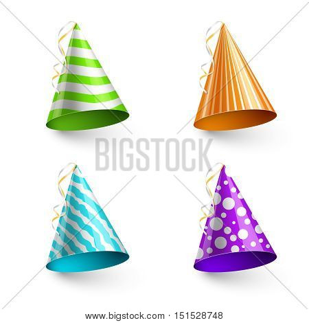 Vector child party hats isolated on transparent checkered background. Hat in form cone for birthday event illustration