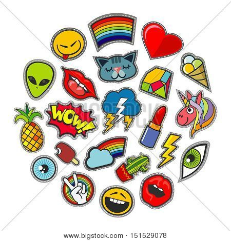 Cute vector patches icons in circle design. Unicorn and alien, pineapple and thunderstorm illustration