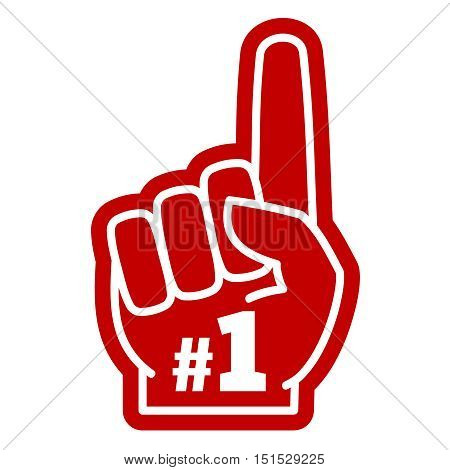 Number 1 one sports fan foam hand with raising forefinger vector icon. Fan support sport illustration