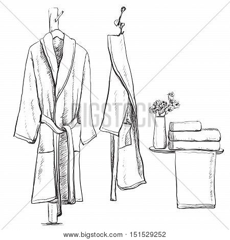 Bath robe, robe for the shower, bathrobe, doodle style, sketch illustration, hand drawn vector