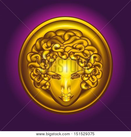 Round golden shield with the head of Medusa the Gorgon