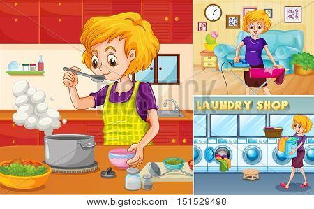 Housewife doing different chores in the house illustration