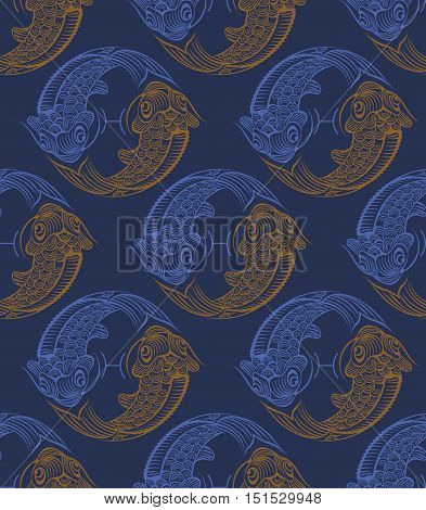 Repaint seamless pattern: fish. Easy to recolor vector pattern