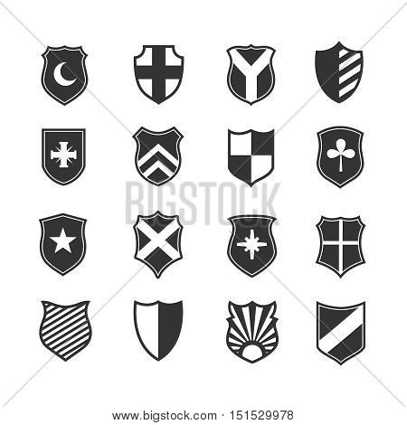 Protection shield vector icons. Medieval emblems set with heraldry illustration