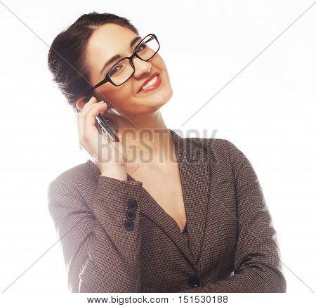 Eyeglasses Woman Using Phone isolated on white