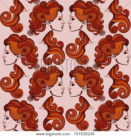 Repaint seamless pattern: woman's profile. Easy to recolor vector pattern