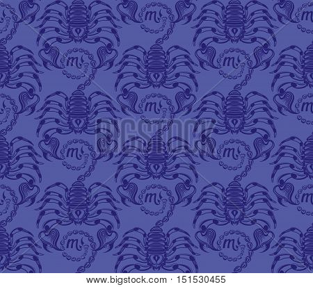 Repaint seamless pattern: blue scorpions. Easy to recolor vector pattern
